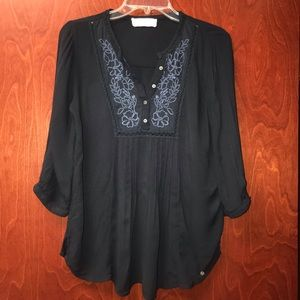 Abercrombie and Fitch embroidered navy peasant top